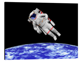 Stampa su alluminio  Astronaut floating in outer space above planet Earth. - Elena Duvernay