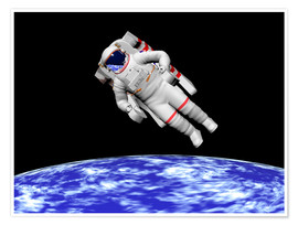 Poster Premium Astronaut floating in outer space above planet Earth.