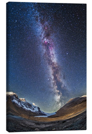 Stampa su tela  Milky Way over the Columbia Icefields in Jasper National Park, Canada. - Alan Dyer