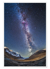 Poster Premium  Milky Way over the Columbia Icefields in Jasper National Park, Canada. - Alan Dyer
