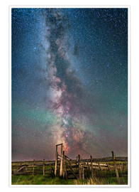 Poster Premium Milky Way over an old ranch corral.