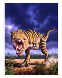 Poster Premium  A Tyrannosaurus Rex attacks, lit by the late afternoon sun. - Jerry LoFaro