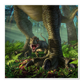 Poster  A baby Tyrannosaurus Rex roars while safely standing between it's mother's legs. - Jerry LoFaro