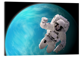 Stampa su vetro acrilico  Artist's concept of an astronaut floating in outer space by a water covered planet. - Marc Ward