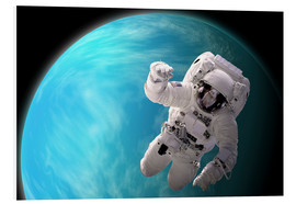 Stampa su PVC  Artist's concept of an astronaut floating in outer space by a water covered planet. - Marc Ward