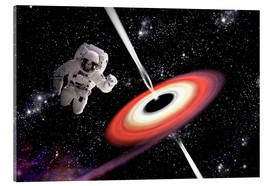 Stampa su vetro acrilico  Artist's concept of an astronaut falling towards a black hole in outer space. - Marc Ward