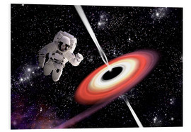 Stampa su schiuma dura  Artist's concept of an astronaut falling towards a black hole in outer space. - Marc Ward