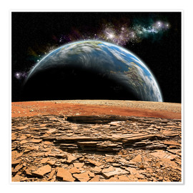 Poster Premium An Earth-like planet rises over a rocky and barren alien moon.