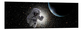 Stampa su PVC  Astronaut floating in deep space with an Earth-like planet in background. - Marc Ward