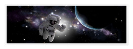Poster Premium Astronaut floating in outer space