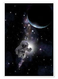 Poster Premium Artist's concept of an astronaut floating in outer space.