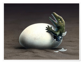 Poster Premium  An early dinosaur ancester, Seymouria, hatches from an egg. - Jerry LoFaro