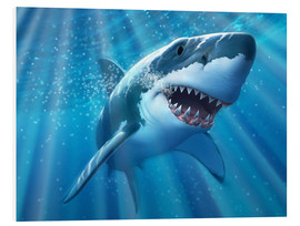 Forex  A Great White Shark with sunrays just below the surface. - Jerry LoFaro