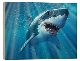 Stampa su legno  A Great White Shark with sunrays just below the surface. - Jerry LoFaro