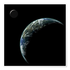 Poster  An Earth-like planet with an orbiting moon illuminated by a nearby sun. - Marc Ward