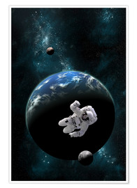 Poster Premium  An astronaut floating in front of a water covered world with two moons. - Marc Ward
