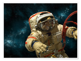 Poster Premium A cosmonaut against a background of stars.