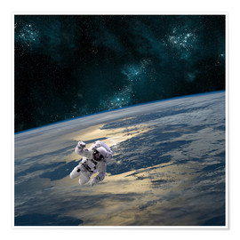 Poster Premium  An astronaut floating above Earth. - Marc Ward