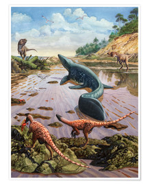 Poster Raptors attack a vulnerable Mosasaurus that remained aground at low tide.