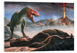 Vetro acrilico  A volcanic eruption destroys the hunting grounds of Tyrannosaurus Rex. - Sergey Krasovskiy