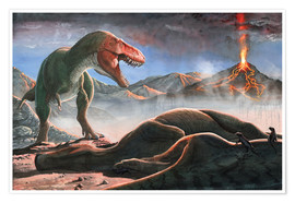 Poster Premium  A volcanic eruption destroys the hunting grounds of Tyrannosaurus Rex. - Sergey Krasovskiy