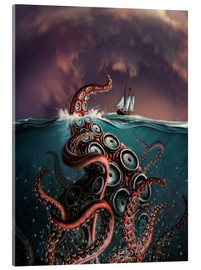 Vetro acrilico  A fantastical depiction of the legendary Kraken. - Jerry LoFaro