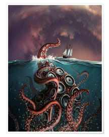 Poster  A fantastical depiction of the legendary Kraken. - Jerry LoFaro