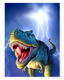 Poster Premium  T.Rex in the storm - Jerry LoFaro