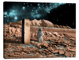 Stampa su tela  Astronaut on an alien world discovers an artifact that indicates past intelligent life. - Marc Ward