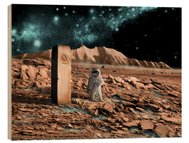 Stampa su legno  Astronaut on an alien world discovers an artifact that indicates past intelligent life. - Marc Ward