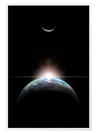 Poster Premium A star rising over an Earth-like planet and illuminating it's lone moon.