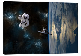Stampa su tela  An astronaut drifting in space is rescued by a space shuttle orbiting Earth. - Marc Ward