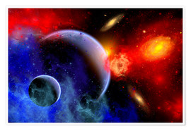 Poster Premium A mixture of colorful stars, planets, nebulae and galaxies