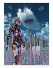 Poster  A futuristic city where robots and flying saucers are common place. - Mark Stevenson