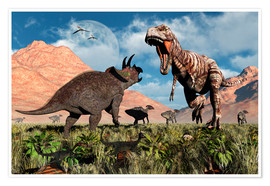 Poster  Prehistoric battle between a Triceratops and Tyrannosaurus Rex. - Mark Stevenson