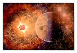 Poster Premium A supernova destroying itself and its planets.