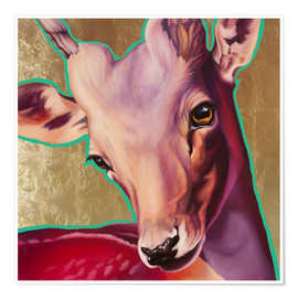 Poster  deer gold - Renate Berghaus