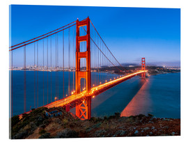 Stampa su vetro acrilico  Night shot of the Golden Gate Bridge in San Francisco California, USA - Jan Christopher Becke