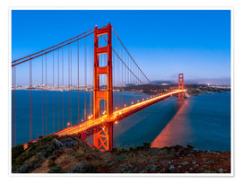 Poster Premium  Night shot of the Golden Gate Bridge in San Francisco California, USA - Jan Christopher Becke