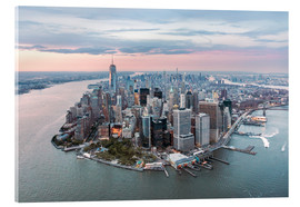Vetro acrilico  Aerial view of lower Manhattan with One World Trade Center at sunset, New York city, USA - Matteo Colombo