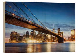 Legno  Brooklyn bridge and Manhattan at night, New York city, USA - Matteo Colombo