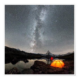 Poster Premium Milky Way at Matterhorn