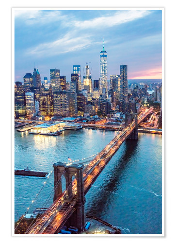 Poster Premium Ponte di Brooklyn e Lower Manhattan