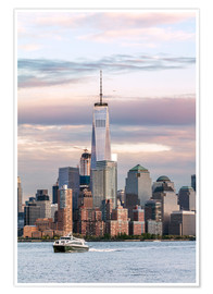Poster Premium  World trade center and Manhattan skyline at sunset, New York city, USA - Matteo Colombo