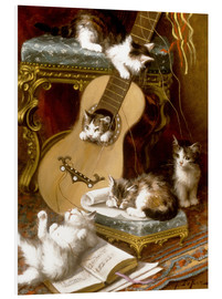 Stampa su schiuma dura  Kittens at play with a guitar - Jules Le Roy