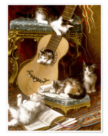Poster Premium Kittens at play with a guitar