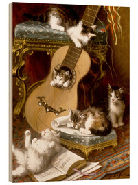 Stampa su legno  Kittens at play with a guitar - Jules Le Roy