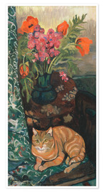 Poster Premium Bouquet and cat