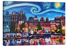 Tela  Starry Night over Amsterdam Canal with Van Gogh Inspirations - M. Bleichner