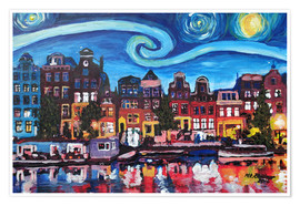 Poster Premium  Starry Night over Amsterdam Canal with Van Gogh Inspirations - M. Bleichner
